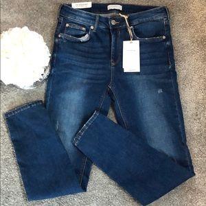 Zara Skinny Slim distresses Jeans in Blue MidRise